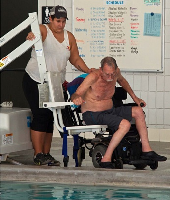 Multiple sclerosis is aided by pool lift